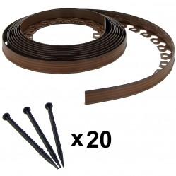 Bordure de jardin flexible marron - 3,8 cm x 10 mètres avec 20 piquets d'ancrage