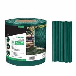 Brise vue en rouleau vert avec 20 clips de fixation, 19 cm x 35 mètres, 450 g/m²
